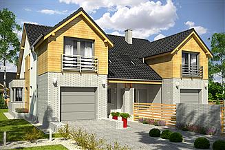 Projekt domu Bazyli z garażem 1-st. bliźniak [A-BL2]