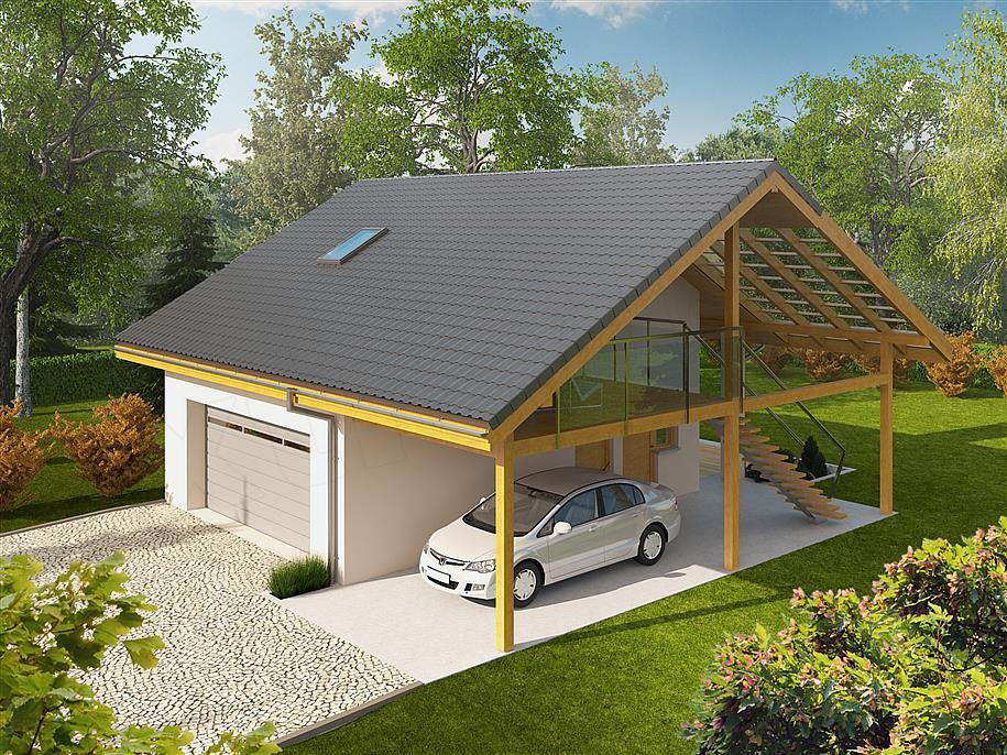 Projekt Garażu G31 Z Wiatą 6756 M2 Koszt Budowy 102 Tys Zł