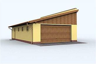 Projekt garażu G125 garaż dwustanowiskowy z pomieszczeniem gospodarczym