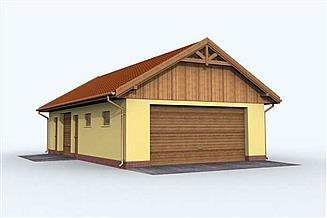 Projekt garażu G126 garaż trzystanowiskowy z pomieszczeniem gospodarczym