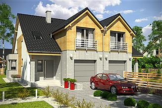 Projekt domu Bazyli z garażem 1-st. bliźniak [A-BL1]