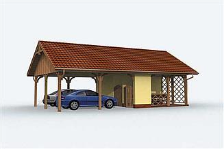 Projekt wiaty garażowej G154 wiata dwustanowiskowa z pomieszczeniem gospodarczym