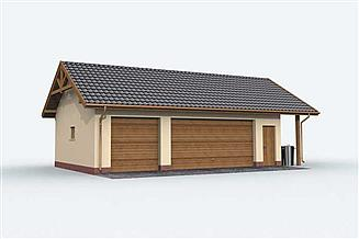 Projekt garażu G156 garaż trzystanowiskowy z pomieszczeniem gospodarczym