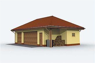 Projekt garażu G157 garaż trzystanowiskowy
