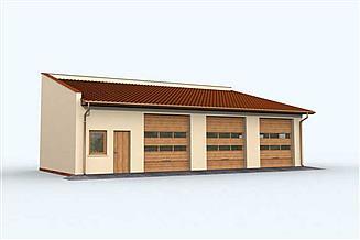 Projekt garażu G160 garaż trzystanowiskowy z pomieszczeniami gospodarczymi