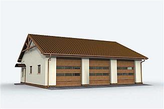Projekt garażu G164 garaż trzystanowiskowy z pomieszczeniami gospodarczymi