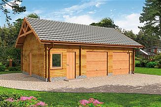 Projekt garażu G84 garaż dwustanowiskowy z bali drewnianych