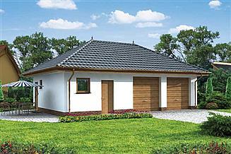Projekt garażu G195 garaż dwustanowiskowy z pomieszczeniami gospodarczymi