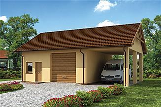 Projekt garażu G213 garaż dwustanowiskowy z pomieszczeniami gospodarczymi