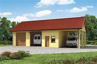 Projekt garażu G210 garaż dwustanowiskowy z pomieszczeniami gospodarczymi i wiatą