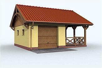 Projekt garażu G70 garaż jednostanowiskowy z altaną