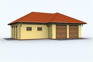 Projekt sauny G72 garaż dwustanowiskowy z pomieszczeniami rekreacyjnymi i sauną