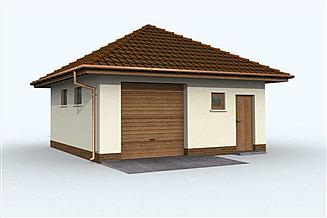Projekt garażu G74 garaż jednostanowiskowy z pomieszczeniem gospodarczym