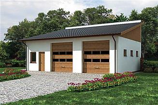 Projekt garażu G198 garaż dwustanowiskowy z pomieszczeniem gospodarczym