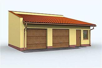Projekt garażu G85 garaż dwustanowiskowy z pomieszczeniami gospodarczymi
