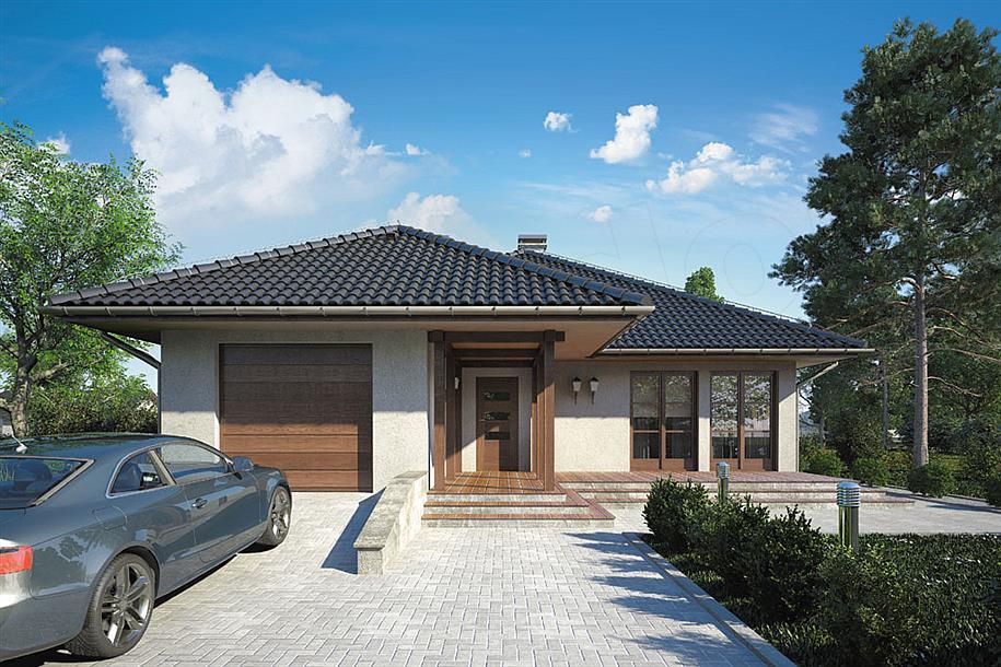 Projekt domu floryda 117 85 m2 koszt budowy extradom - Tejado a un agua ...