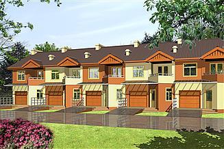 Projekt domu Papuga z garażem 1-st. szeregówka [A-SZ]