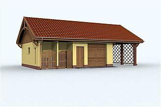 Projekt garażu G118 garaż dwustanowiskowy z wiatą i pomieszczeniem gospodarczym