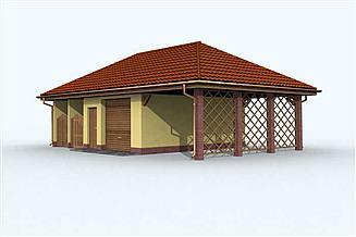 Projekt garażu G119 garaż dwustanowiskowy z wiatą