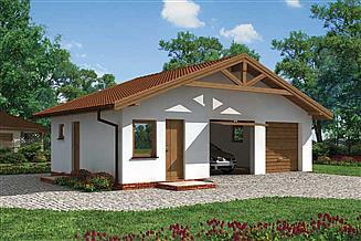Projekt garażu G3 garaż dwustanowiskowy z pomieszczeniami gospodarczymi