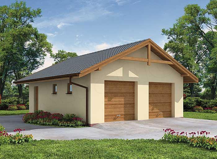 Projekt Garażu G1a Garaż Dwustanowiskowy Z Pomieszczeniem
