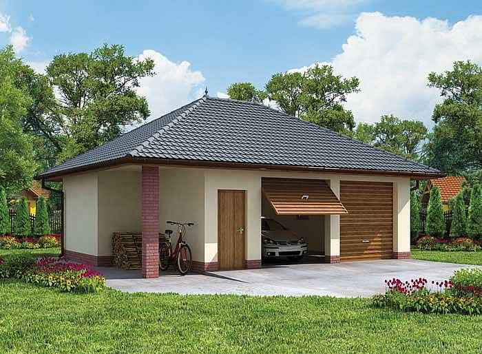 Projekt Garażu G33 Garaż Dwustanowiskowy Z Pomieszczeniem