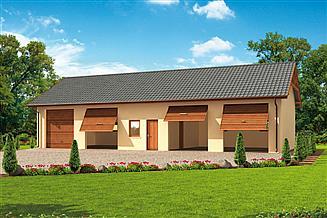 Projekt garażu G49 garaż czterostanowiskowy z pomieszczeniami gospodarczymi