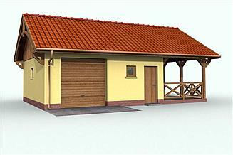 Projekt garażu G56 garaż jednostanowiskowy z pomieszczeniem gospodarczym i wiatą