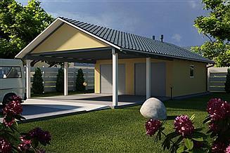 Projekt garażu G30 - Budynek garażowy z wiatą