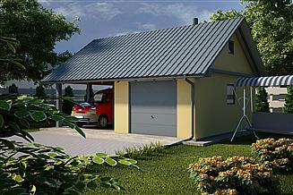 Projekt garażu G20 - Budynek garażowy z wiatą