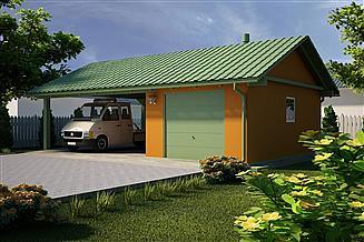 Projekt garażu G21 - Budynek garażowy z wiatą