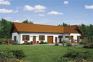 Projekt stajni S28 stajnia dla koni - 4 boksy + część mieszkalna