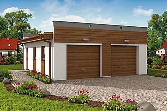 Projekt garażu G1a2 garaż dwustanowiskowy z pomieszczeniem gospodarczym