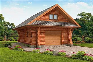 Projekt garażu G4 z bali drewnianych, garaż jednostanowiskowy z poddaszem