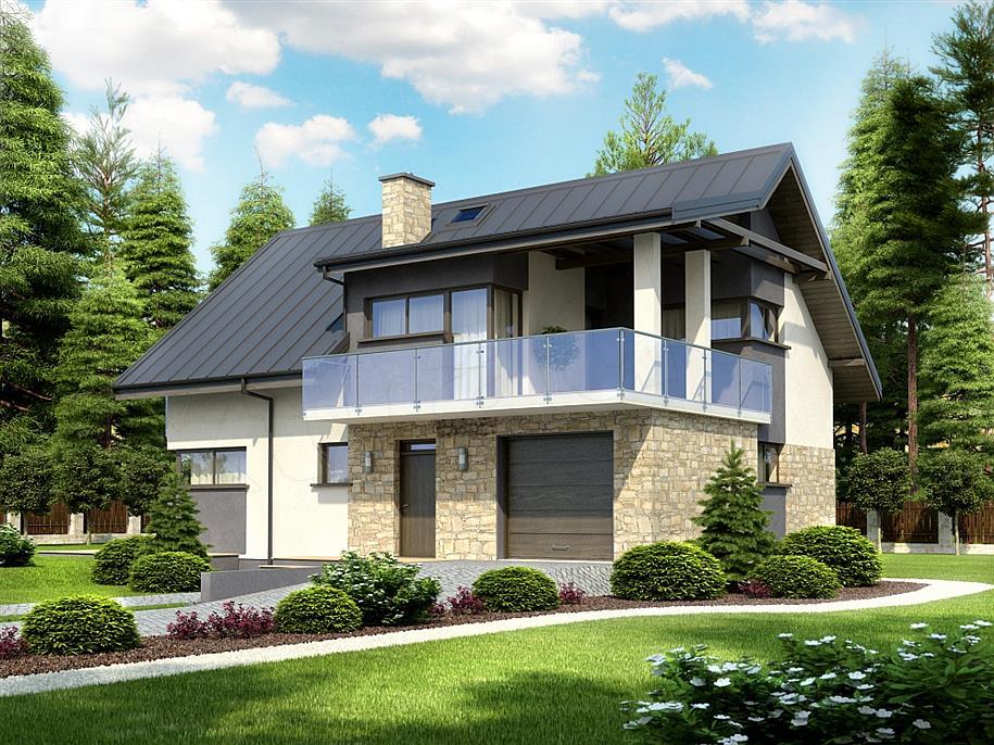 Проекты двухэтажных частных жилых домов и коттеджей.