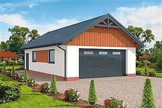 Projekt garażu G272 garaż dwustanowiskowy z pomieszczeniem gospodarczym