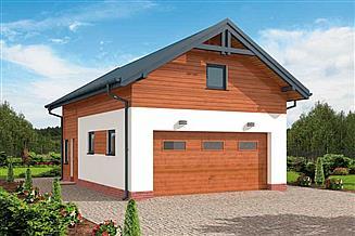 Projekt garażu G298 garaż dwustanowiskowy z pomieszczeniem gospodarczym i poddaszem użytkowym