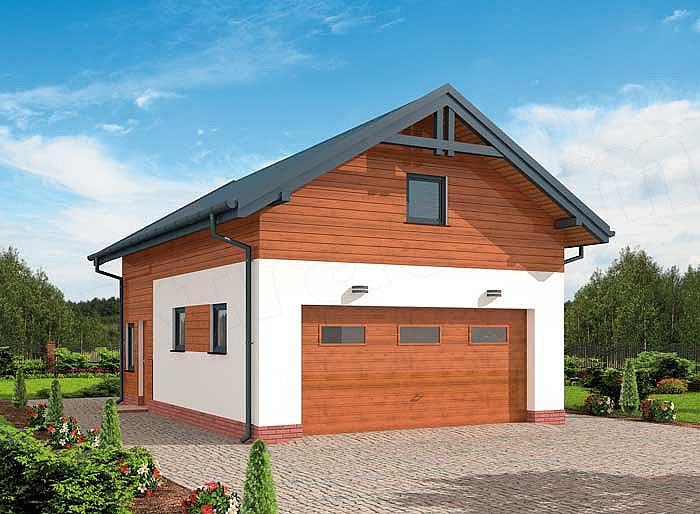 Projekt Garażu G298 Garaż Dwustanowiskowy Z Pomieszczeniem