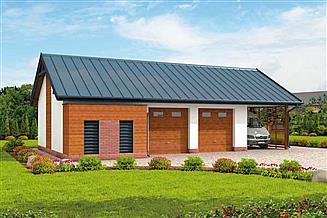 Projekt garażu G281 garaż dwustanowiskowy z pomieszczeniem gospodarczym i wiatą