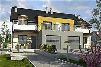 Projekt domu Gwarek z garażem 1-st. bliźniak [A-BL1]