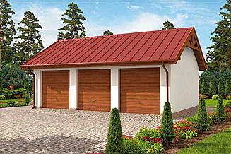 Projekt garażu G305 garaż trzystanowiskowy