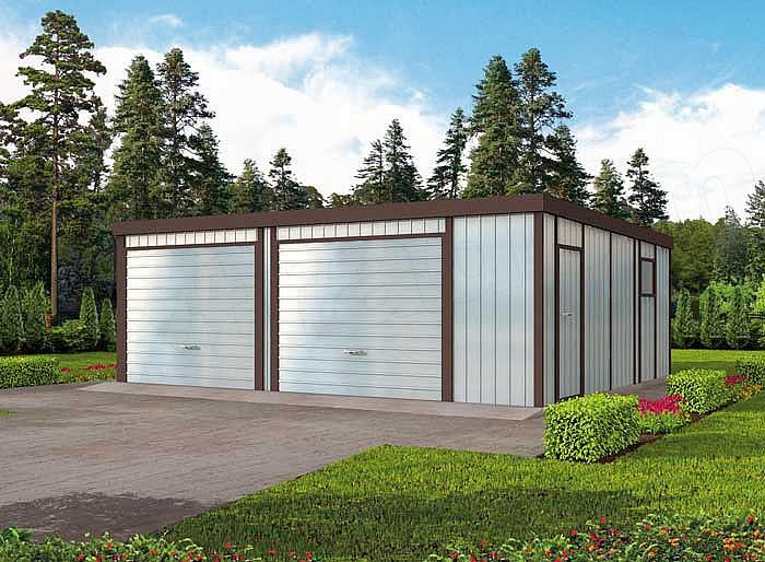 Projekt Garażu Gb21 Garaż Blaszany Dwustanowiskowy 3917 M2 Koszt