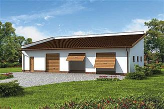 Projekt garażu G219 garaż trzystanowiskowy z pomieszczeniem gospodarczym