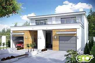 Projekt domu Long z garażem 1-st. bliźniak [A-BL2]