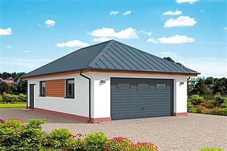 Projekt garażu G319 garaż dwustanowiskowy z pomieszczeniem gospodarczym