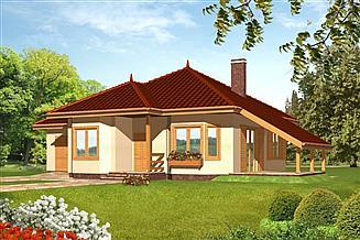 Projekt domu Mały z garażem drewniany