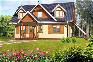 Projekt domu Na wąską działkę drewniany