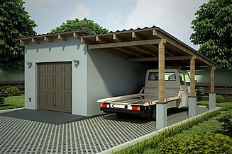 Projekt garażu G82 - Budynek garażowy z wiatą