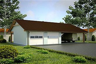 Projekt garażu G94 - Budynek garażowy z wiatą