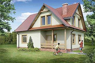 Projekt domu 129 z wykuszem drewniany